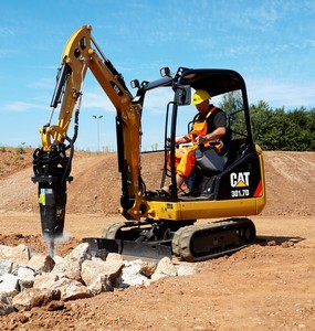 The Cat 301.7D, supplied to the southern African market in canopy configuration, is the optimal choice when working within buildings for tasks that include demolition.
