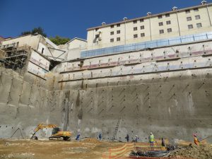 Completed lateral support walls below Balalaika Hotel
