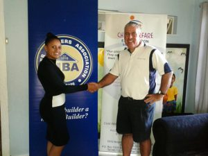Martin Van Seumeren of East Cape MBA (right) hands over a cheque to Lauren Harmse (left) of the Sunshine Children's Home. This was made possible through funds accumulated from the proceeds of the East London MBA Golf Day.