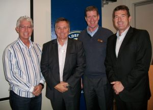 Garth Wright, a former Springbok rugby player and CEO of Wright Surveillance, was a guest speaker at the Port Elizabeth AGM. Wright was accompanied by the MD of Wright Surveillance, Gary Stephenson. L to R - MBA PE Chairman Blayne Scholtz, Garth Wright, Greg Steele and Gary Stephenson