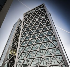 FAIRSCAPE: Close up of diagrid facade showing all it's characteristics