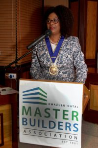 Joyce Dolly Tembe of Sakhisizwe Development Training was sworn in as President of KwaZulu-Natal Master Builders  Association