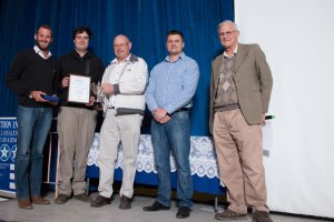 Safety Person of the year. Left to right: Stefan Marais (Safety Person Of the year), Stephan Claassen (Jnr Health & Safety Advisor), Ian Harris (Director of Amokoro & Trophy Sponsor), Nico de Bruyn (Health & Safety Advisor), Tienie Venter (Health & Safety Advisor)