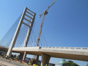 The bus rapid transit (BRT) Rea Vaya bridge linking Alexandra and Sandton was completed on schedule in April. Engineering consultancy firms Hatch, Royal HaskoningDHV and Malani Padayachee and Associates undertook the design and planning of the project, which was funded by the Johannesburg Development Agency. Hatch was also responsible for all procurement functions as well as construction of the project. Photo: John Thomé