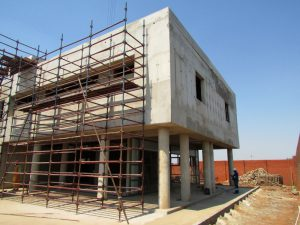 The new Thokoza Fire Station features exterior concrete walls as aesthetic elements